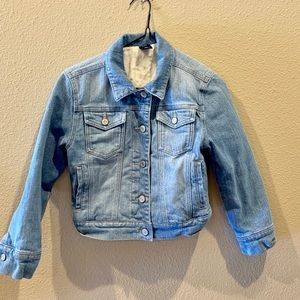 Gap faux fur lined blue jean jacket